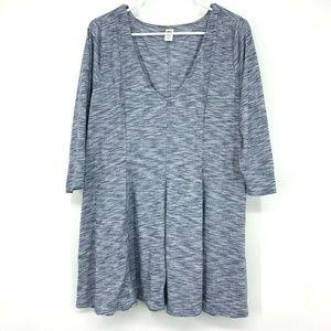Old Navy Blue V Neck 3/4 Sleeve Knit Tunic Top